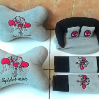 Bantal Mobil Set 3in1 SPIDERMAN / Headrest Sandaran Kepala 3 in 1