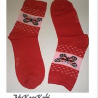 MyKaosKaki - Kaos Kaki Wanita Motif - Merah