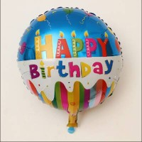 Balon Foil Happy Birthday Blue/ Balon HBD Bulat 45cm by Queenballoon