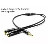 Adapter Splitter kabel Audio 3.5mm to 2 x 3.5mm Mic and Speaker