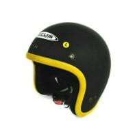 Helm Zeus Retro ZS 385 matt black Yellow untuk vespa, cafe racer