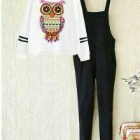 aop setelan st kodok owl / baju wanita pakaian cewek celana kaos
