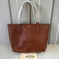 original ori asli tas fossil sydney shopper brown tote bag totte