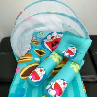 Jual kasur kelambu lipat motif doraemon/bantal guling bayi/baju bayi Murah