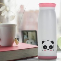 Colourful Cute Cartoon Thermos Insulated Mik Water Bottle White Panda