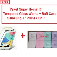 [PAKET] Softcase + Tempered Glass Warna Samsung J7 Prime / On 7