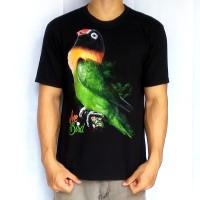 Bawara Kaos Burung KIcau Lovebird D Dakocan Premium Hitam Size XL