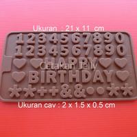 Cetakan Coklat Numerik & Happy Birthday