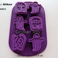 Cetakan Silikon Kue / Puding Halloween 6 cav