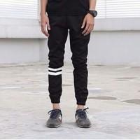 Jual Celana Jogger Pants Pria Black / Jogger Pants Strip / Jogger Murah Murah