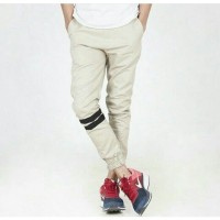Jual Celana Jogger Pants Pria Cream / Jogger Pants Strip / Jogger Murah Murah