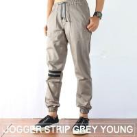 Jual Celana Jogger Pants Pria Grey Young/Jogger Pants Strip/Jogger Mura Murah
