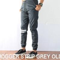 Jual Celana Jogger Pants Pria Grey Old / Jogger Pants Strip / Harga Murah Murah