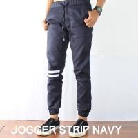 Jual Celana Jogger Pants Pria Navy / Jogger Pants Strip / Jogger Murah Murah