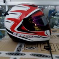 helm bmc blade 200 motif putih merah visor rainbow