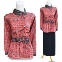 K2-048 Pakaian Murah Wanita Batik Blouse Merah