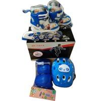 Jual Sepatu Roda Anak Full Set Komplit (Inline skate + Helm + Dekker 1 Set) Murah