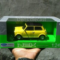 Diecast mini Cooper morris kuning welly skala 24