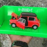 Miniatur Mini Cooper morris merah Welly skala 24