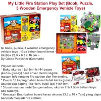 My Little Fire Station Play Set (Book, Puzzle, 3 Wooden Emergency Vehi