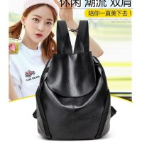 Tas Backpack Korea Ransel Kulit Hitam Import Wanita Fashion