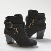 Spesial LALANG New Women Cross Bandage Boots High Heel Casual Shoes Bl