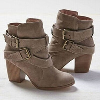 Terbatas LALANG New Women Cross Bandage Boots High Heel Casual Shoes B