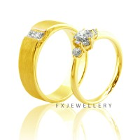 FX Wedding Ring Silver / Cincin Nikah Lapis Emas 18 k / Cincin Couple