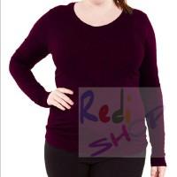 kaos polos baju atasan wanita big size besar jumbo lengan panjang