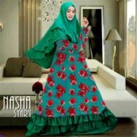 Nasha syari/baju syari motif bunga besar/model gamis syari/Ar