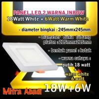 Panel LED Dua Warna 18W Putih/White + 6W Warm White INBOW Kotak Besi