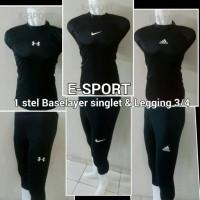 Baselayer / Manset / Singlet dan celana Legging 3/4 Nike Adidas UA