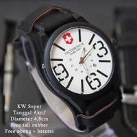 EXCLUSIVE Victorinox Combo Leather Hitam plat Putih BARU