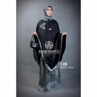 Mukenah Ponco Makinayu Black Grey Berkualitas