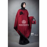 Mukena Ponco Makinayu Red Black Murah