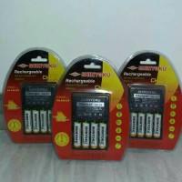 Charger Shinyoku CHA-210+ 4 pcs baterai cas 1200mah TWN