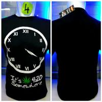 kaos combed hitam 420 jam bulat reggae rasta baju distro shirt