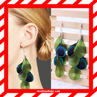 harga Anting Bulu Merak Tusuk Natural Long Peacock Feather Earrings Green Tokopedia.com