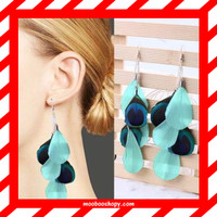 harga Anting Bulu Merak Tusuk Natural Long Peacock Feather Earrings Blue Tokopedia.com