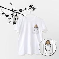 Tumblr Tee / T-Shirt / Kaos Wanita Lengan Pendek Pocket Sloth Putih