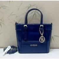 Jual tas guess blue mini hand bag authentic 100% original Murah