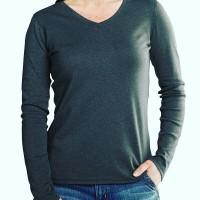 kaos polos warna wanita atasan baju lengan panjang v-neck size L