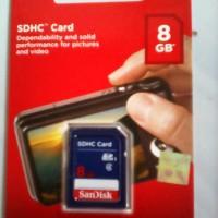 Memory Card SanDisk SDHC (SDcard) 8GB Class 4 For Camera Digital/DLSR