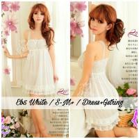 babydoll lingerie satin dress warna putih sleepwear baju tidur daster