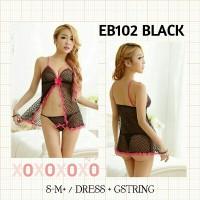 sexy lingerie murah dress black mini hitam transparan baju tidur hot