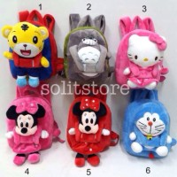 Tas Anak Ransel Boneka Tiger Totoro Hello Kitty Minnie Doraemon Import
