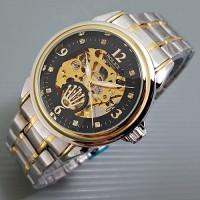 Jual Jam Tangan Pria Matic Rolex Skeleton Jewelry Rantai Kombi Murah