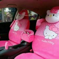 Jual Sarung Jok Full Set Khusus Agya/Ayla Motif Hello Kitty Pink Murah