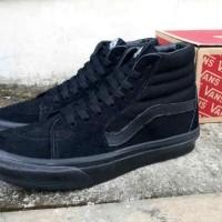 Sepatu Pria Vans Sk8 High Full Black IMPORT Casual Sneakers Kuliah