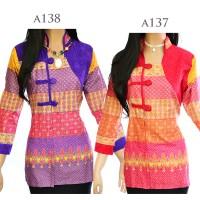 Jual Atasan Batik Tunik Blus Batik Blouse Motif Songket Embos A1 38 Murah
